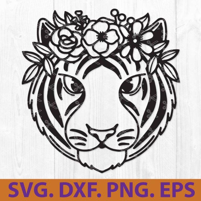 Tiger With Flower Crown SVG