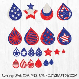 American Flag Earrings SVG 4th of July svg