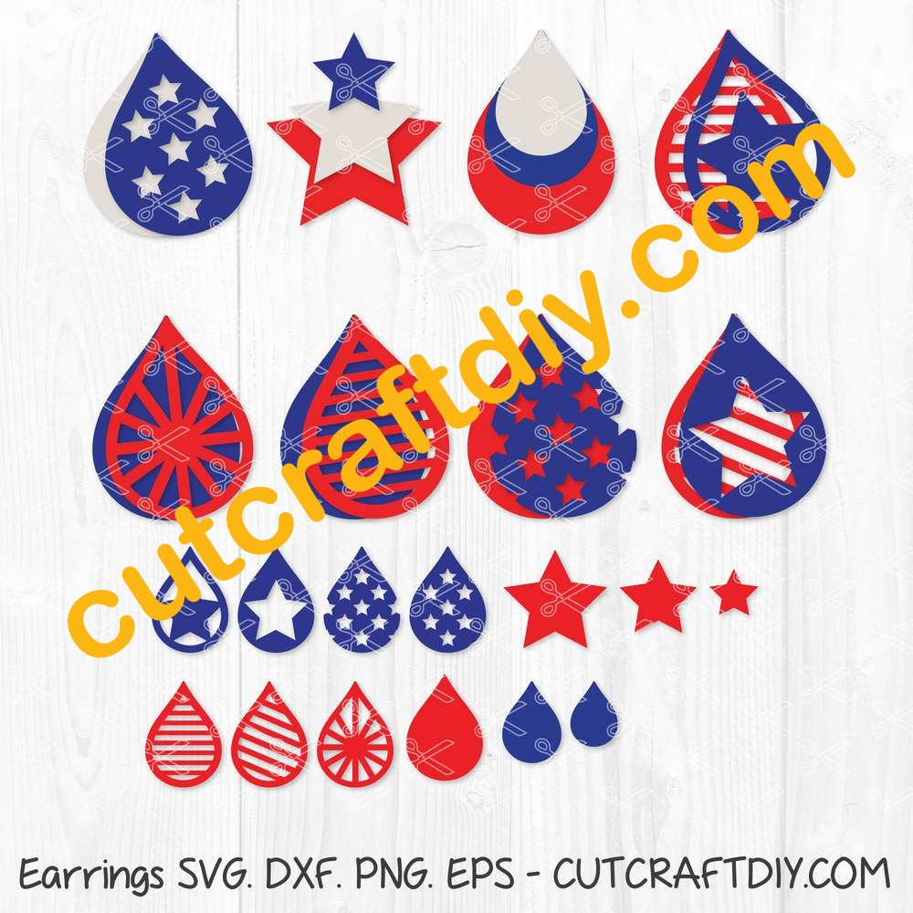 American Flag Earrings Svg Dxf Png Eps 4th July Earring Svg