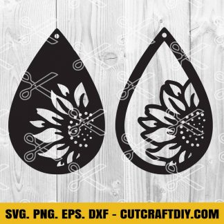 Tardrop Sunflower Earrings SVG