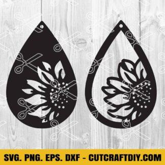 Tardrop Sunflower Earrings SVG