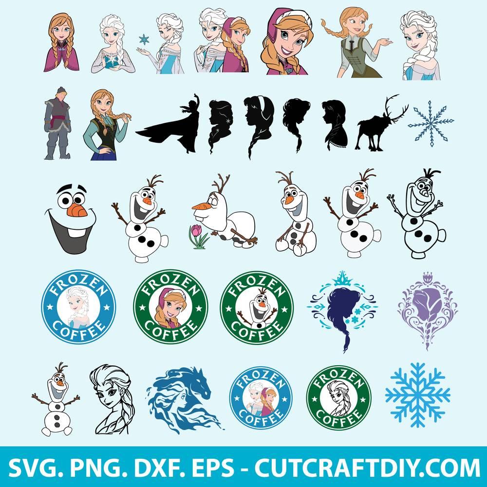 Disney Frozen Svg Bundle Cut Files Frozen Clipart Anna And Elsa Svg