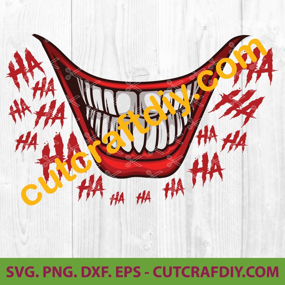 Joker Smile Svg Png Dxf Eps Cut Files Funny Mouth Mask Svg