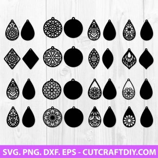 Mandala Earring SVG Cut File