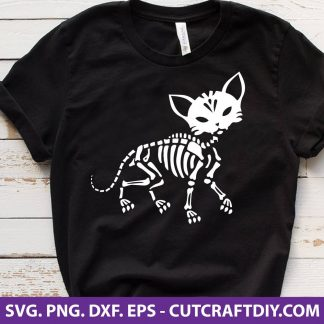 Halloween Skeleton Cat SVG
