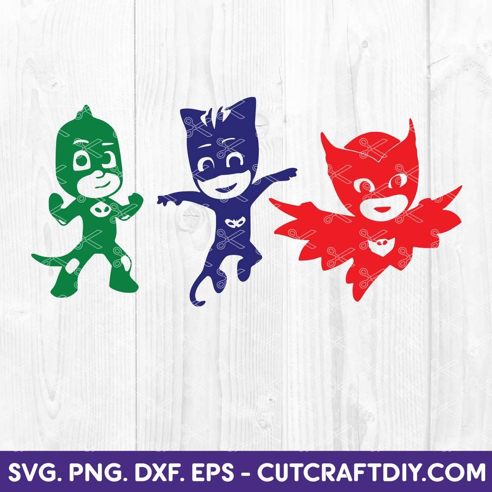 Pj Masks Svg Dxf Png Cut Files Pj Masks Clipart Birthday Svg