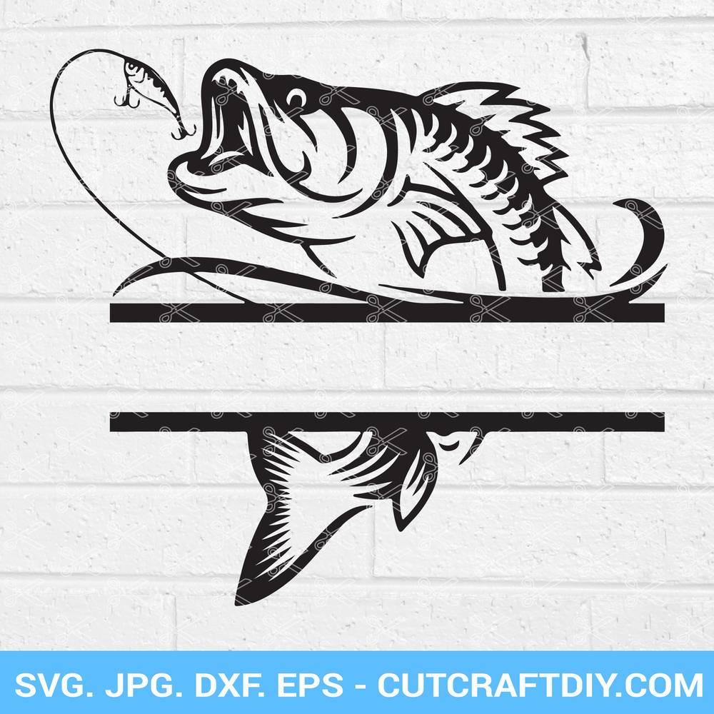 Download Bass Fish Split Monogram Svg Dxf Png Eps Cut Files Fishing Svg