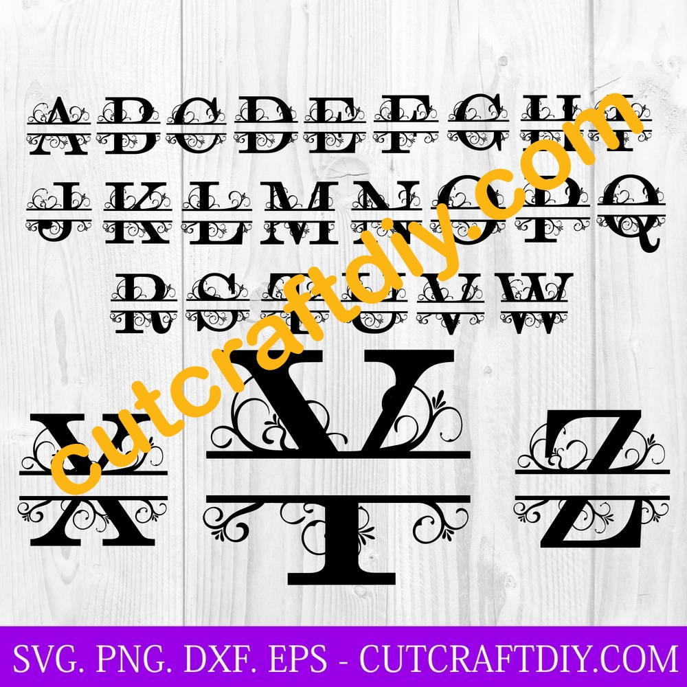 Split Monogram Letters Svg Png Cut Files For Cricut And Silhouette