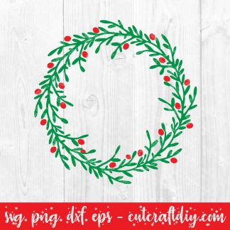 Christmas Holly wreath svg