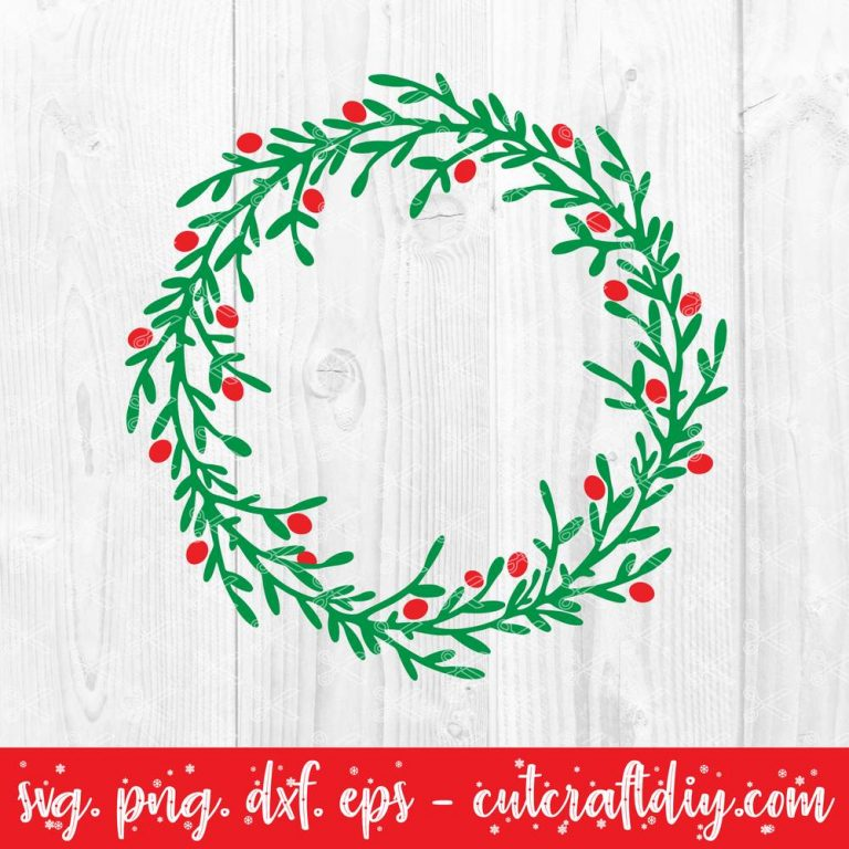 Christmas Holly wreath svg