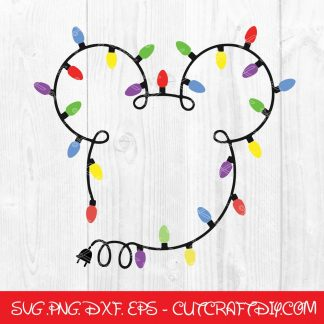 Mickey Head Christmas Lights SVG