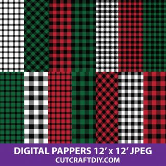 Red Buffalo Plaid Pattern Lumberjack Digital Paper