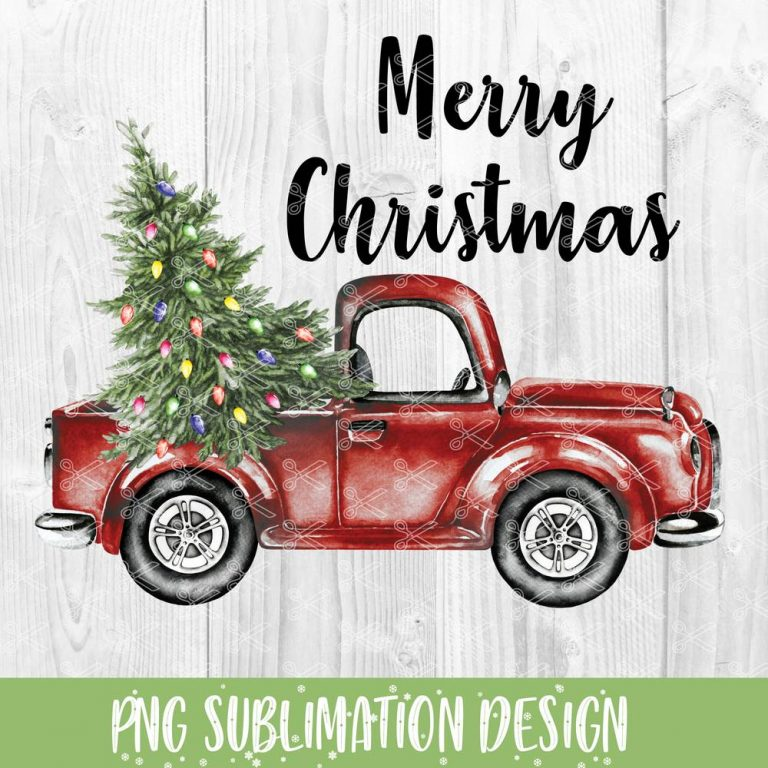 Merry Christmas Truck Sublimation Design