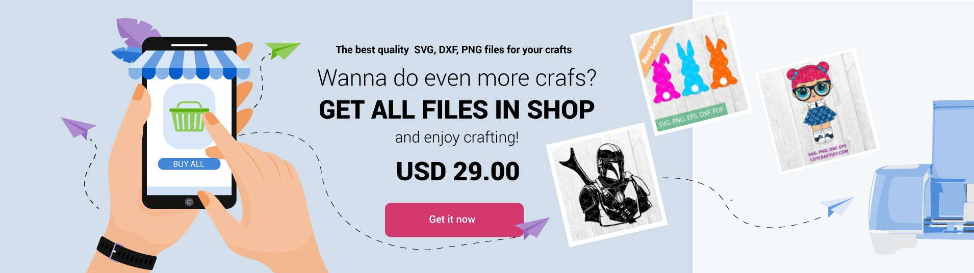 Get All cutting files in the shop SVG DX PNG Cut files