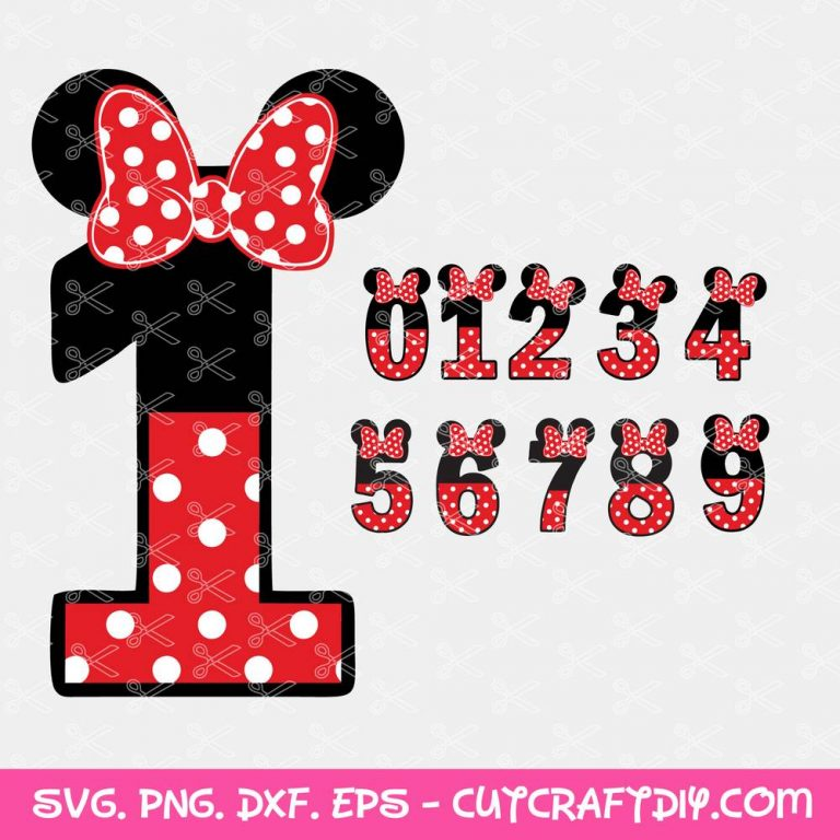 Minnie Mouse Numbers SVG File
