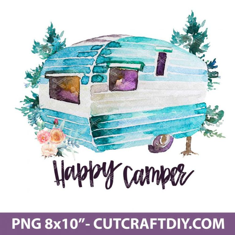 Happy Camper with flowers png clipart