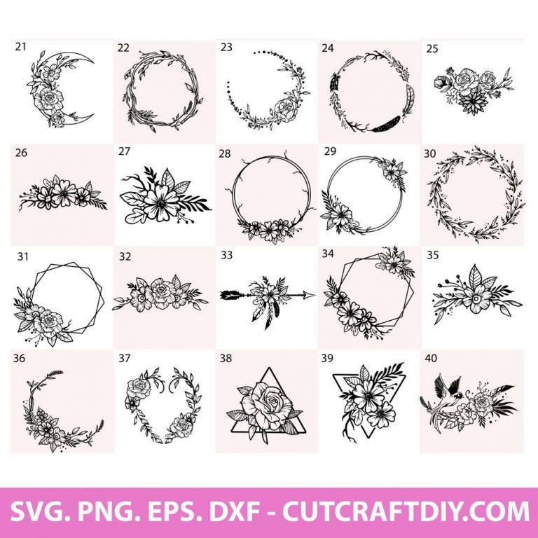 Geometric floral wreath svg