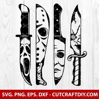 Horror movie characters in knives svg