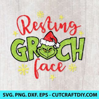 Resting Grinch Face svg cut file